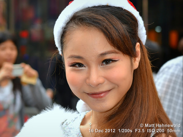 close up, people, Chinese people, portrait, street portrait, headshot, Hong Kong, Chinese girl, smiling, beautiful, Santa Claus hat
