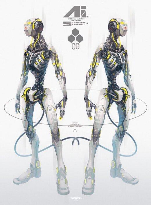 Takayuki Satou esuthio artstation arte ilustrações ficção científica fantasia sombria cyber robôs