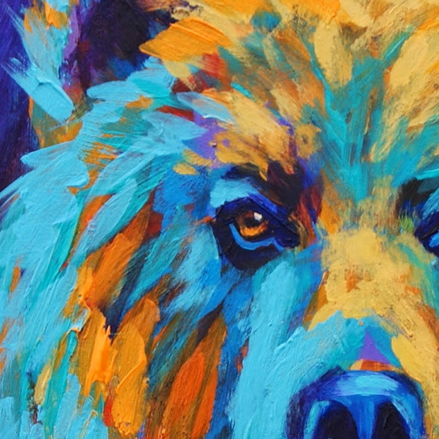 Daily Painters Of California Colorful Expressionistic Grizzly Bear Contemporary Wildlife Art