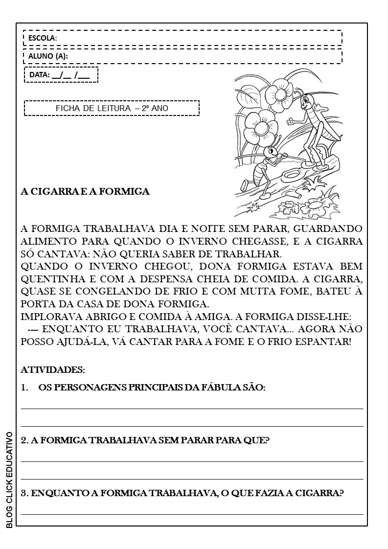 Fabula A Cigarra E A Formiga Para Imprimir 2º Ano Clicks