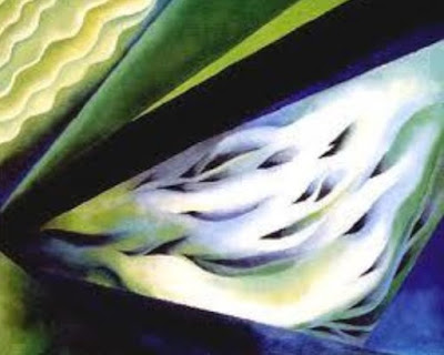 "Lukisan ""Blue and Green Music"" oleh Georgia O'Keefee"