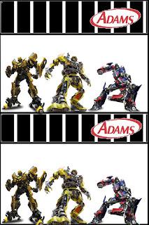 Etiquetas chicle Adams de Transformers para imprimir gratis.