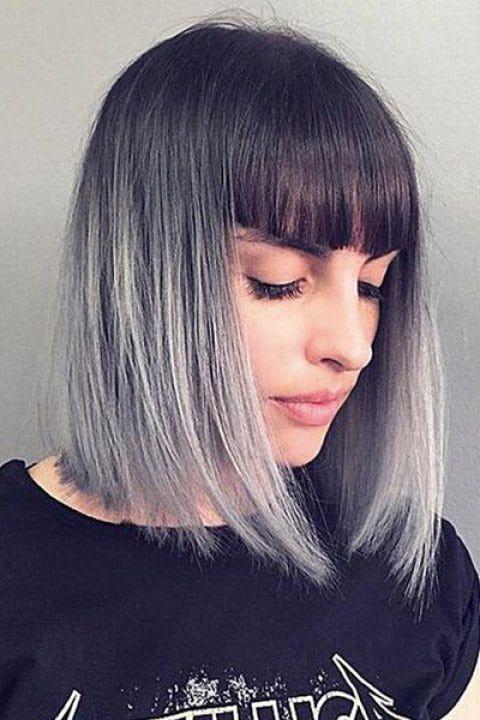 Peruca corte de cabelo estilo bob com franja e pintura ombrè platinado, feita de cabelo humano