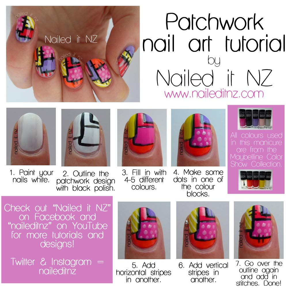 Nail Art Designs Tutorial Youtube: Patchwork Nail Art Tutorial