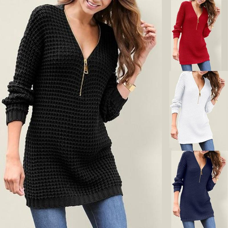 Zipper Sexy Deep V Neck Sweater - $28.45