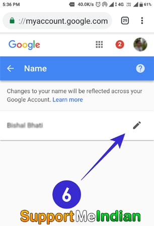 gmail user name change kare