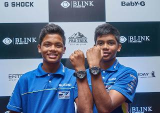 Aaron Gunawardena and Jaden Gunawardena showcasing their G-Shock watches presented by Blink