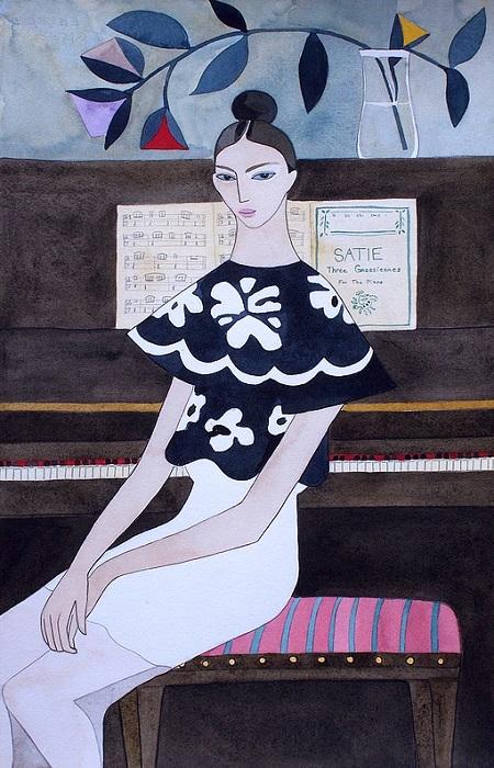 Kelly Beeman arte | dibujo en acuarela de mujer estilo fashionista casual elegante