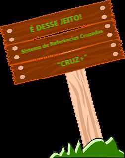 """Imagem de uma placa, anunciando o recurso do estudo que inicia, """"Sistema de Referências Cruzadas(CRUZ+)"""""""