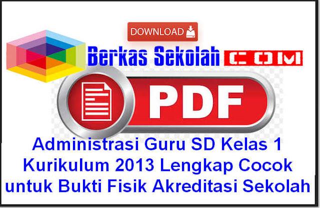 Download Administrasi Guru SD Kelas 1 Kurikulum 2013 Lengkap Cocok untuk Bukti Fisik Akreditasi Sekolah