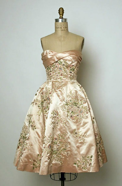 Silk and Rhinestone House of Balmain Evening Gown displayed on dress form