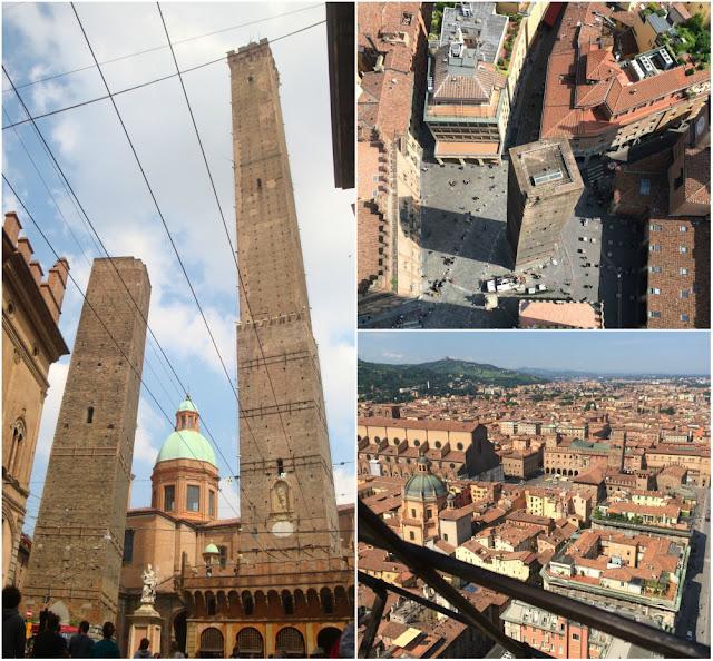 Bolonha: 10 motivos porque me apaixonei pela cidade - as torres Asinelli e Garisenda e Bolonha vista do alto da torre Asinelli