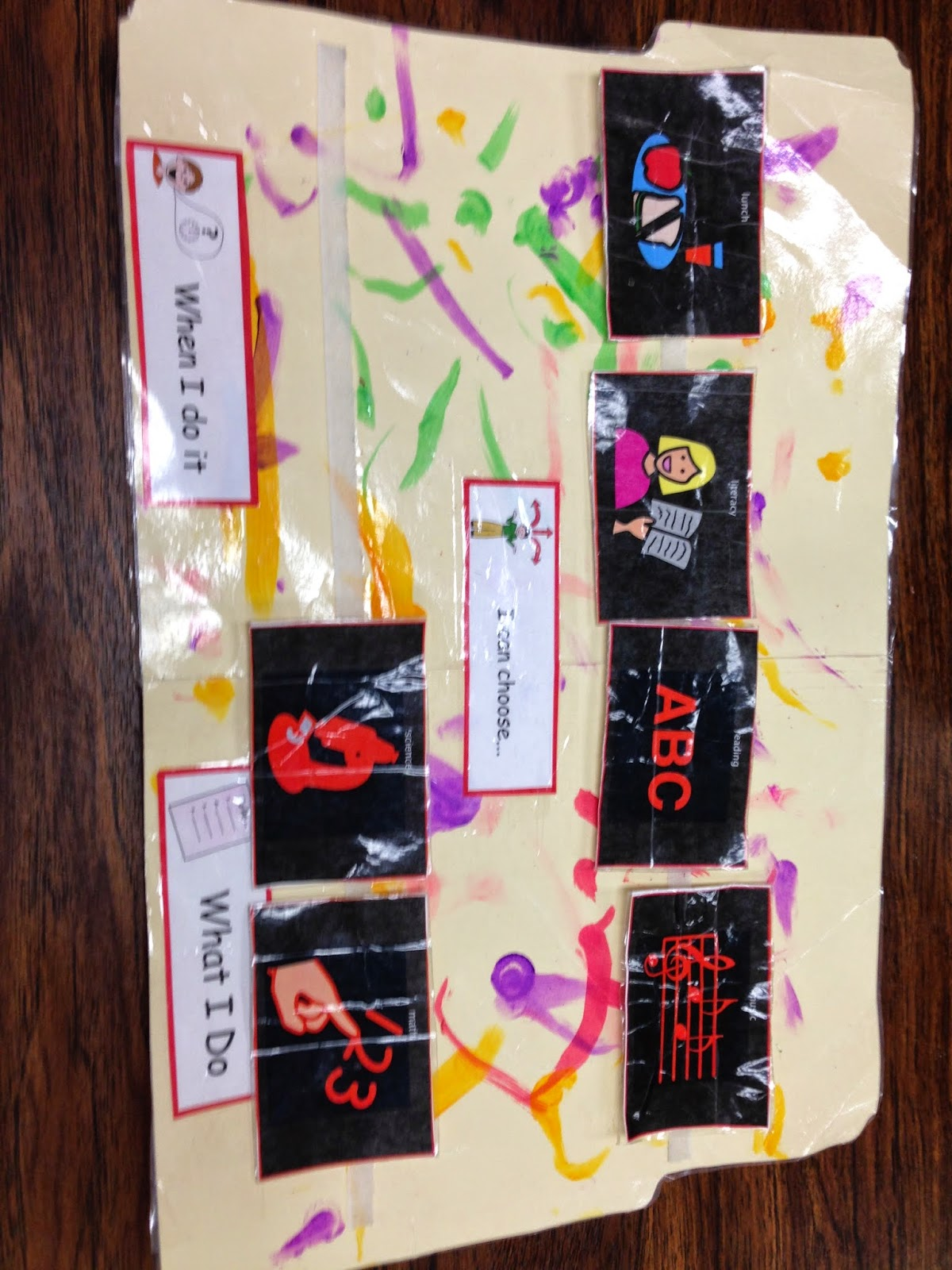 "decorated manilla folder on a table sideways with 4 picture symbols vecroed in a line on top, two picture symbols are on a mostly empty strip of velcro on the bottom. In the middle it says ""I can choose"" on the bottom it says ""when I do it"" and ""what I do"""