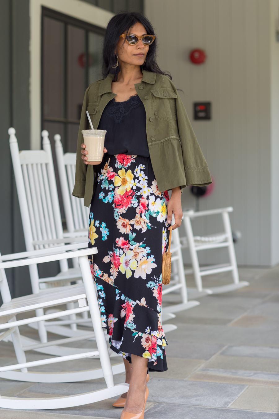 utility jacket, peplum, summer jacket, floral print, midi skirt, loft, urban outfitters, petite fashion, new england travel, north shore boston
