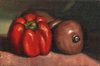 Oil painting of a red pepper beside a wooden pepper grinder lying sideways.