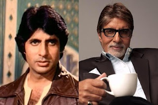 Bollywood star Amitabh Bachchan then and now