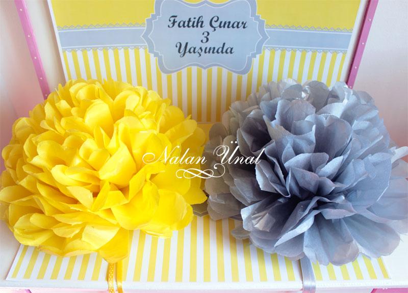 parti organizasyonu sarı gri kağıt çiçek