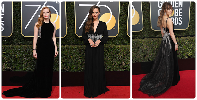 Jessica Chastain; Katherine Langford; Dakota Johnson, Looks dos globos de ouro 2018