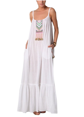 White Boho dress - $14.99 Affordable Springtime Bohemian Fashion {Pastel Bohemian, Springtime Boho Fashion and Accessories, Bohemian Easter}