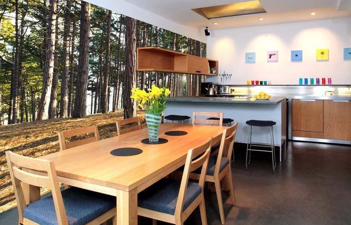 orman ve ağaçlı mutfak duvar kağıdı