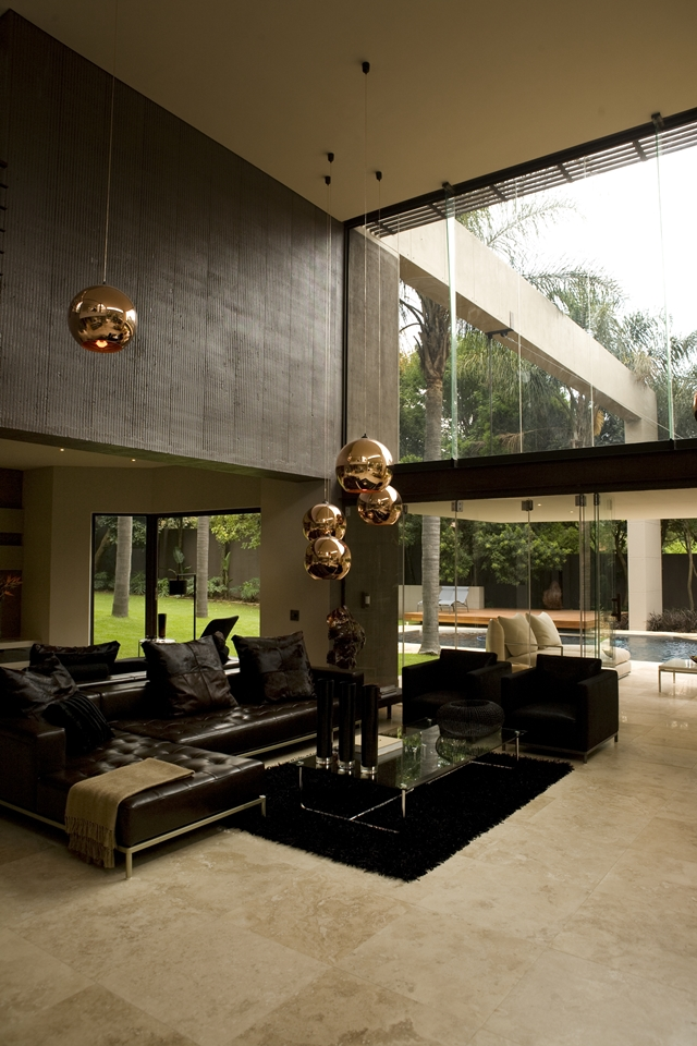 Picture of modern black furniture in the large living room