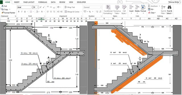 Download Excel Spreadsheet For Rcc Dog Legged Staircase