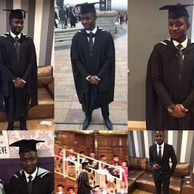 Son of spokesperson of former President Goodluck Jonathan, Reuben Abati, James, graduated with a LL.B, LL.M, BL. from the University of Hull, UK, yesterday January 19th. Congrats to him.