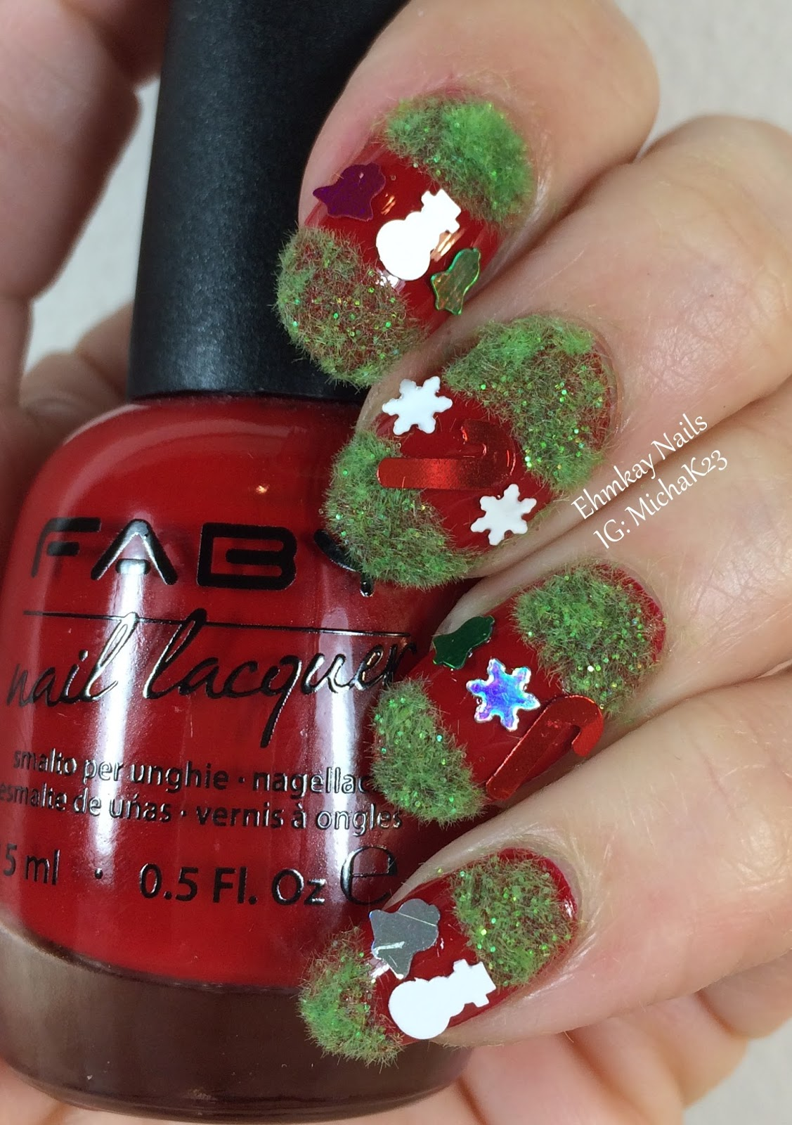 Ehmkay Nails Truly Ugly Sweater Nail Art With Faby Fabys Red