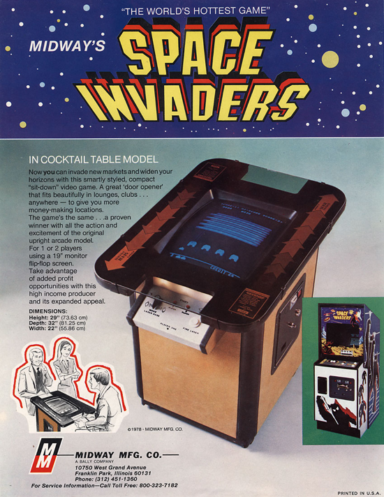 Space Invaders cocktail table advertising
