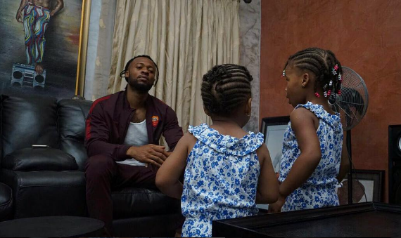 Beautiful Photo Of Singer Flavour With His Daughters In Matching Outfit [PHOTO]