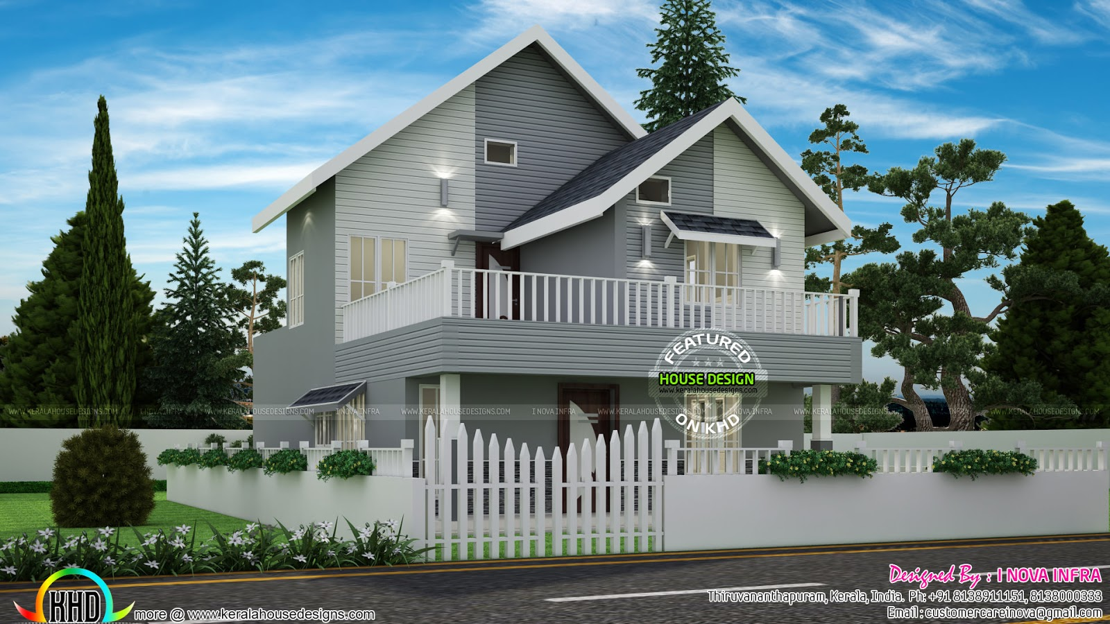 American Style Small Double Storied Home Kerala Home