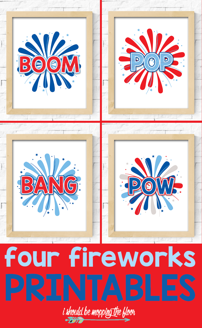 Four Fireworks Printables | These four patriotic printables are the perfect splash of FUN for your fourth of July decor!