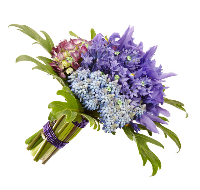 bouquet of spring muscari, iris from Oasis Floral