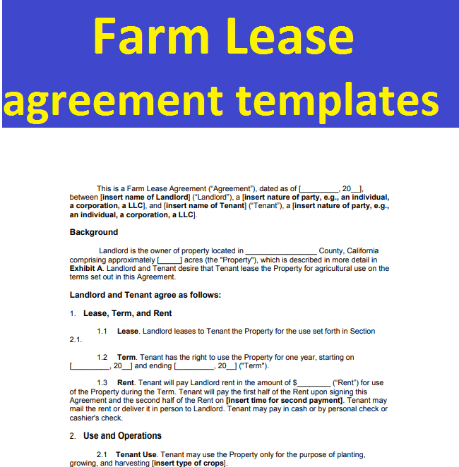 Farm Lease agreement templates form in word and pdf   Sample ...