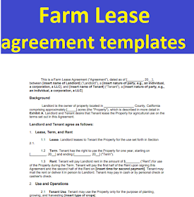 Farm Lease Agreement Templates Form In Word And Pdf All