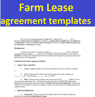 Farm Lease Agreement Templates Form In Word And Pdf Sample