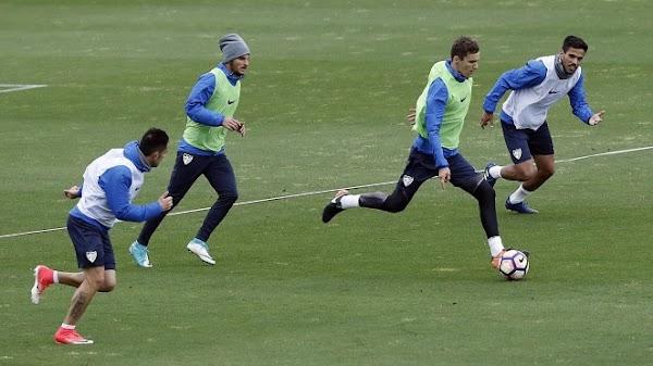 Málaga, entrenamiento a máximo rendimiento de Jony, Llorente y Juankar