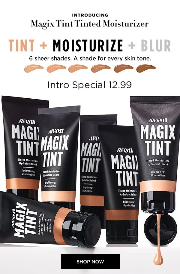 Looking for lightweight coverage for spring? Try Avon's new Magix Tint. This skin enhancing and illuminating tinted moisturizer blurs imperfections, boosts moisture and won't settle into lines and pores. Find it at my eStore (www.avon.ca/boutique/leahalwas)