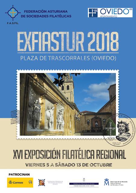 Cartel de Exfiastur 2018, Exposición Filatélica regional asturiana