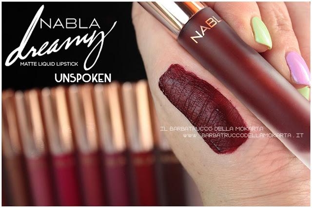Unspoken Dreamy Matte Liquid Lipstick rossetto liquido nabla cosmetics swatches