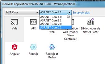 Choix du .NET Core vers 1.0 à 2.1