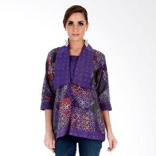 Model Baju Batik Kerja Kombinasi Polos