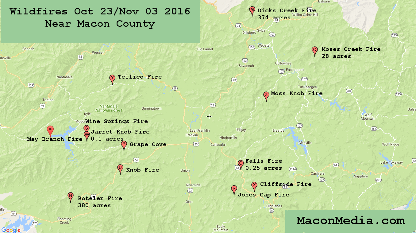 Mapping Wildfires Near Macon County Br Oct 23rd Nov 3rd Thunder Pig