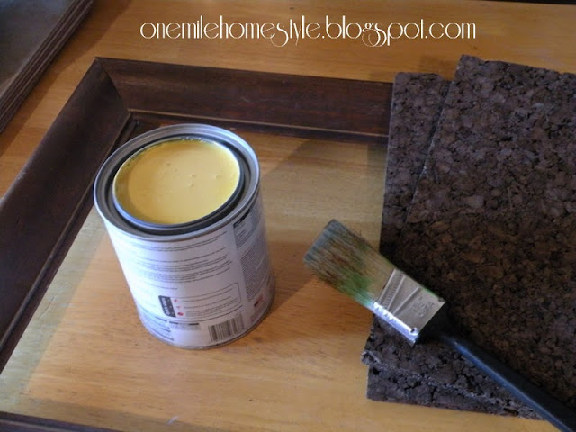Supplies for picture frame corkboard