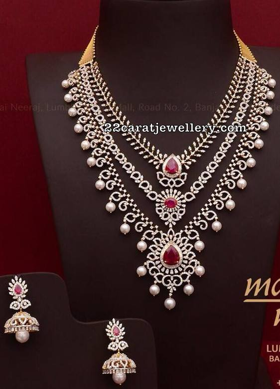 ed371ea7a9c14 Three Step Diamond Necklace by Mangatrai Neeraj - Jewellery Designs