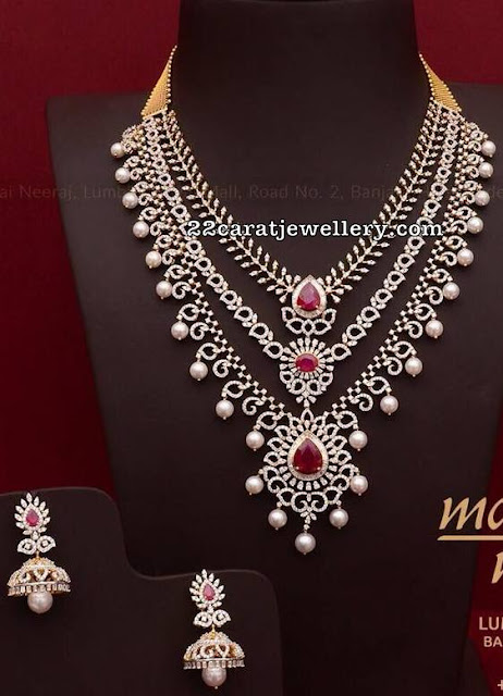 Three Step Diamond Necklace by Mangatrai Neeraj
