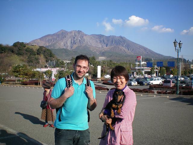 En el volcan sakurajima en Kagoshima