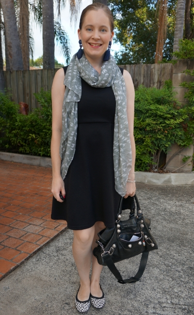 black fit and flare dress with printed scarf and ballet flats for the office with Balenciaga part time bag | awayfromblue