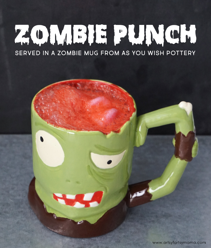 Easy Zombie Punch recipe for Halloween served in a custom-painted Zombie Mug from As You Wish Pottery!