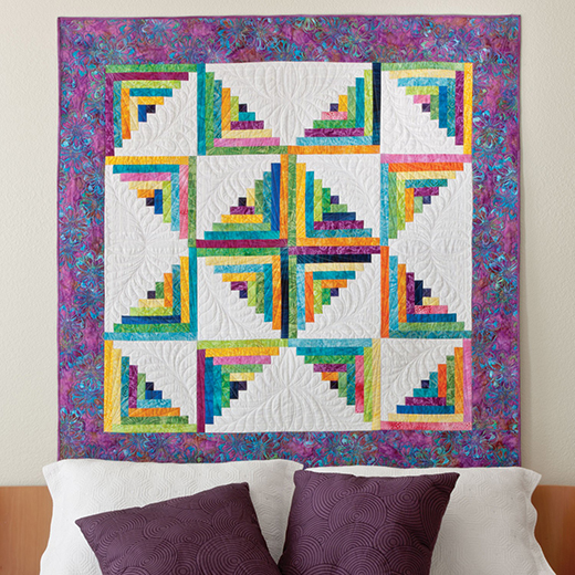 Scrappy Star Log Cabin Quilt free Pattern